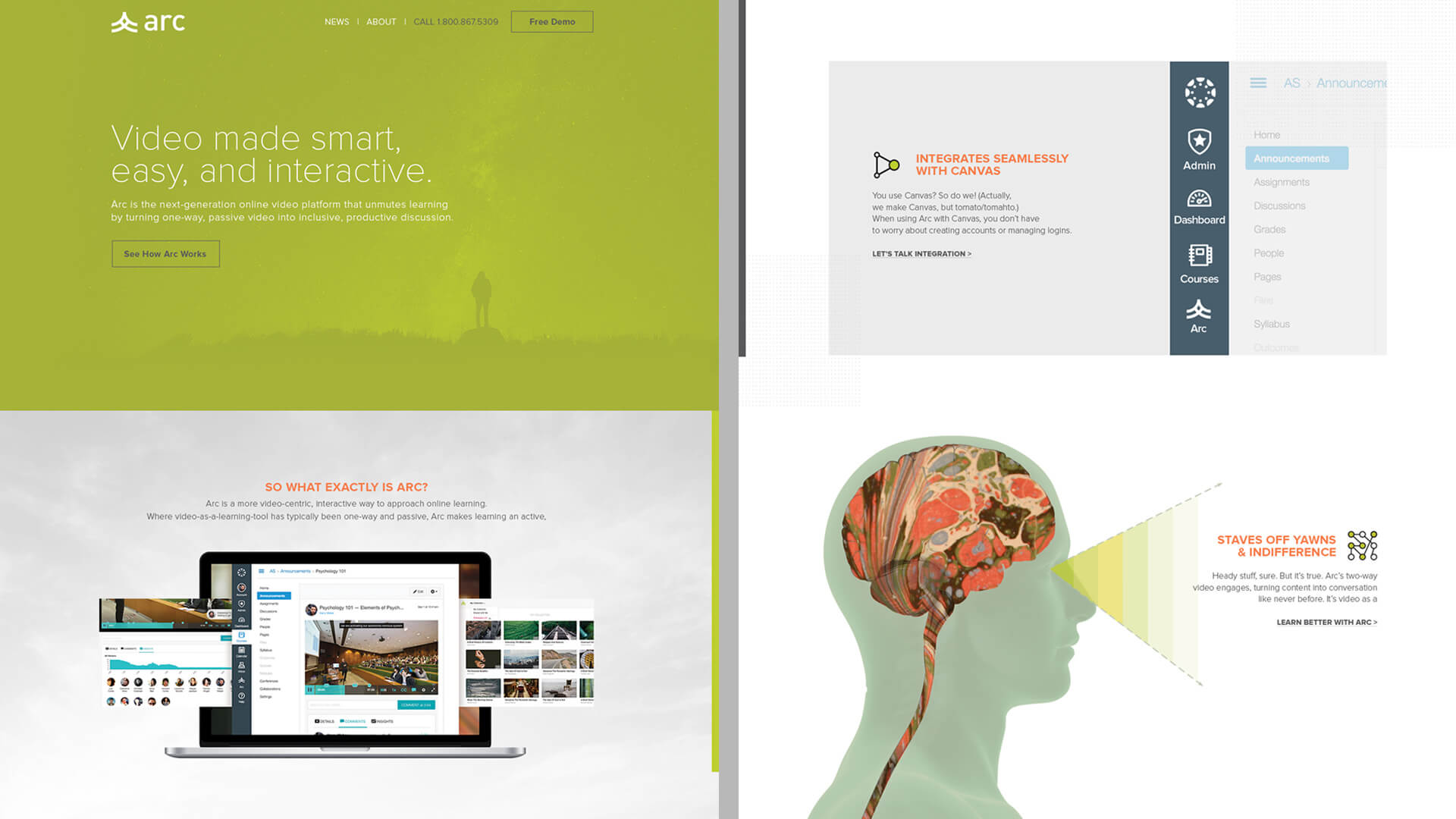 Website homepage design - Arc Video Learning Software