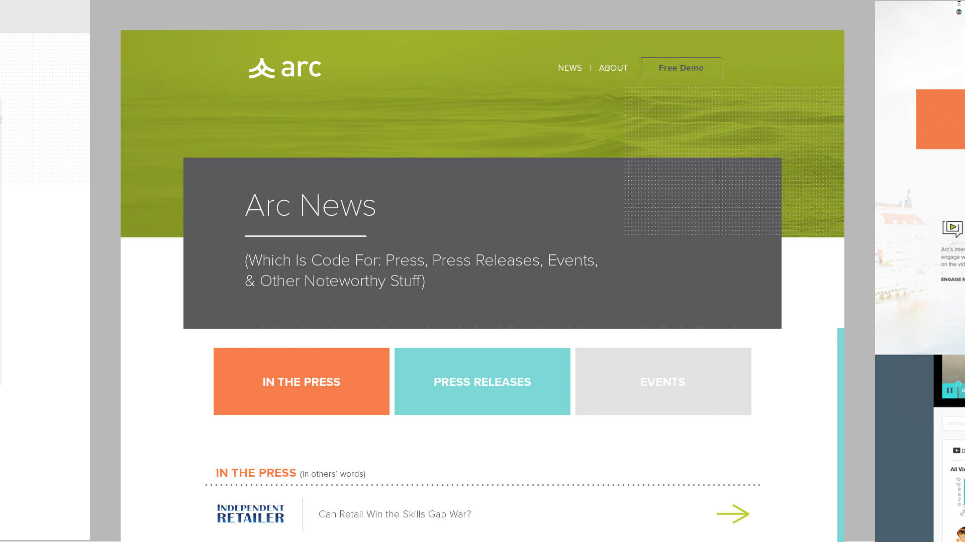 Website page designs - Arc Video Learning Software