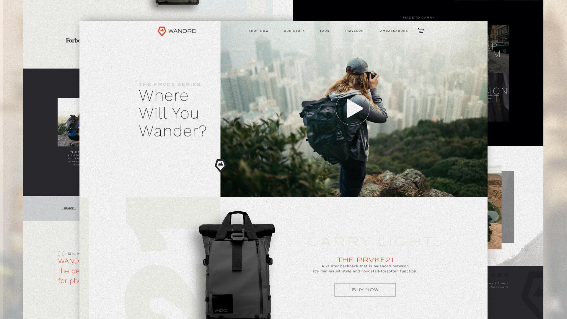 Website Design, homepage - Wandrd