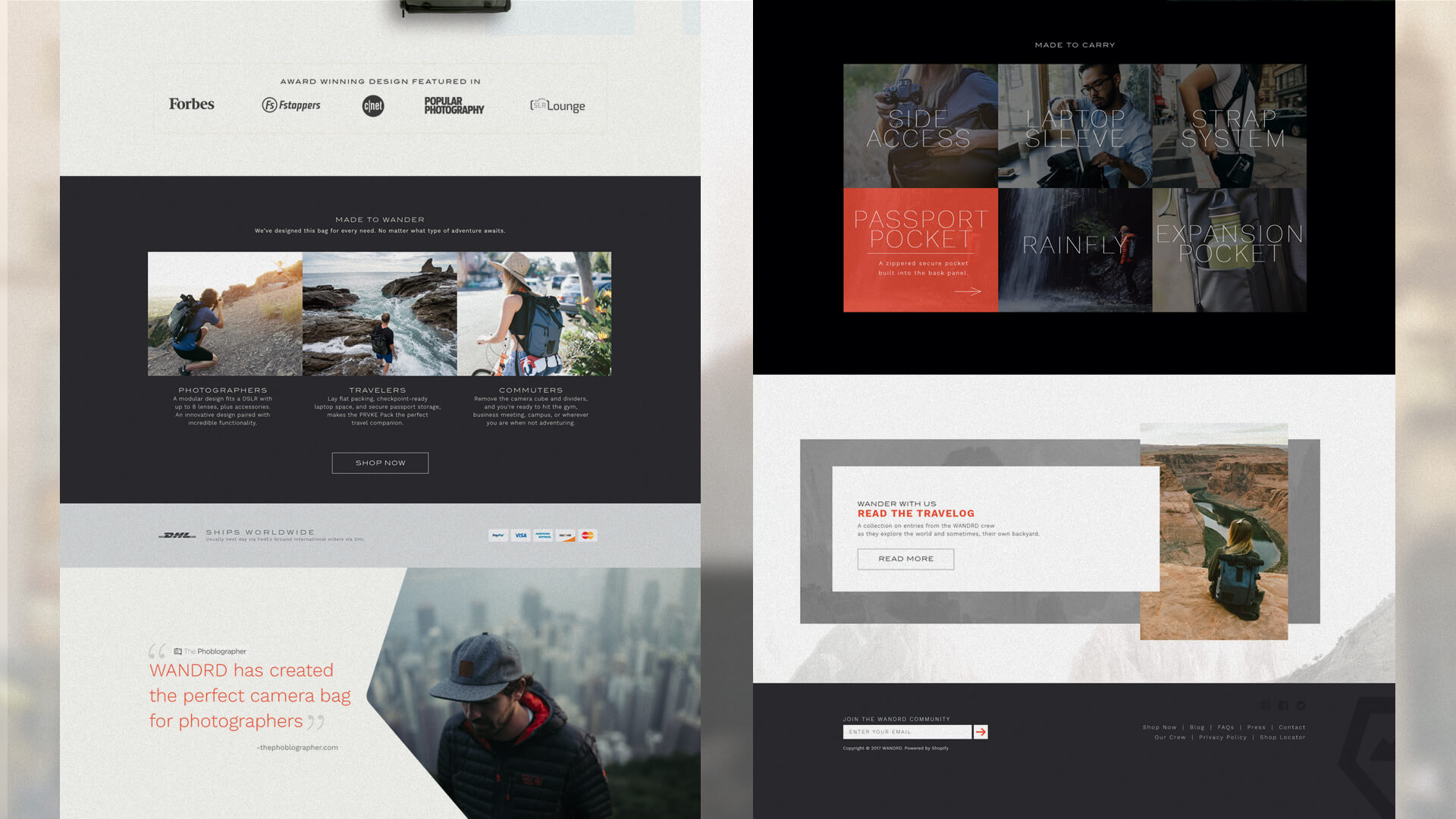 Website design, home elements - Wandrd