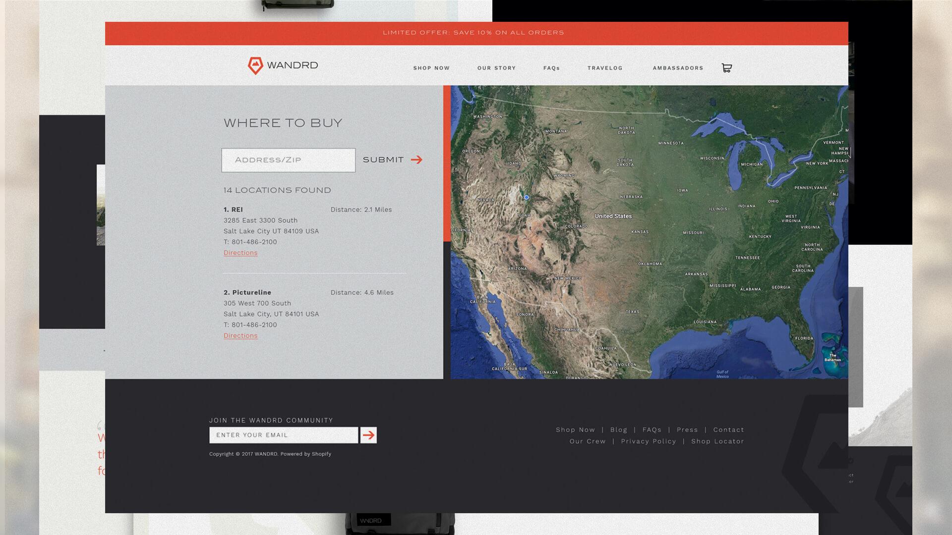 Website Design, Product Finder - Wandrd