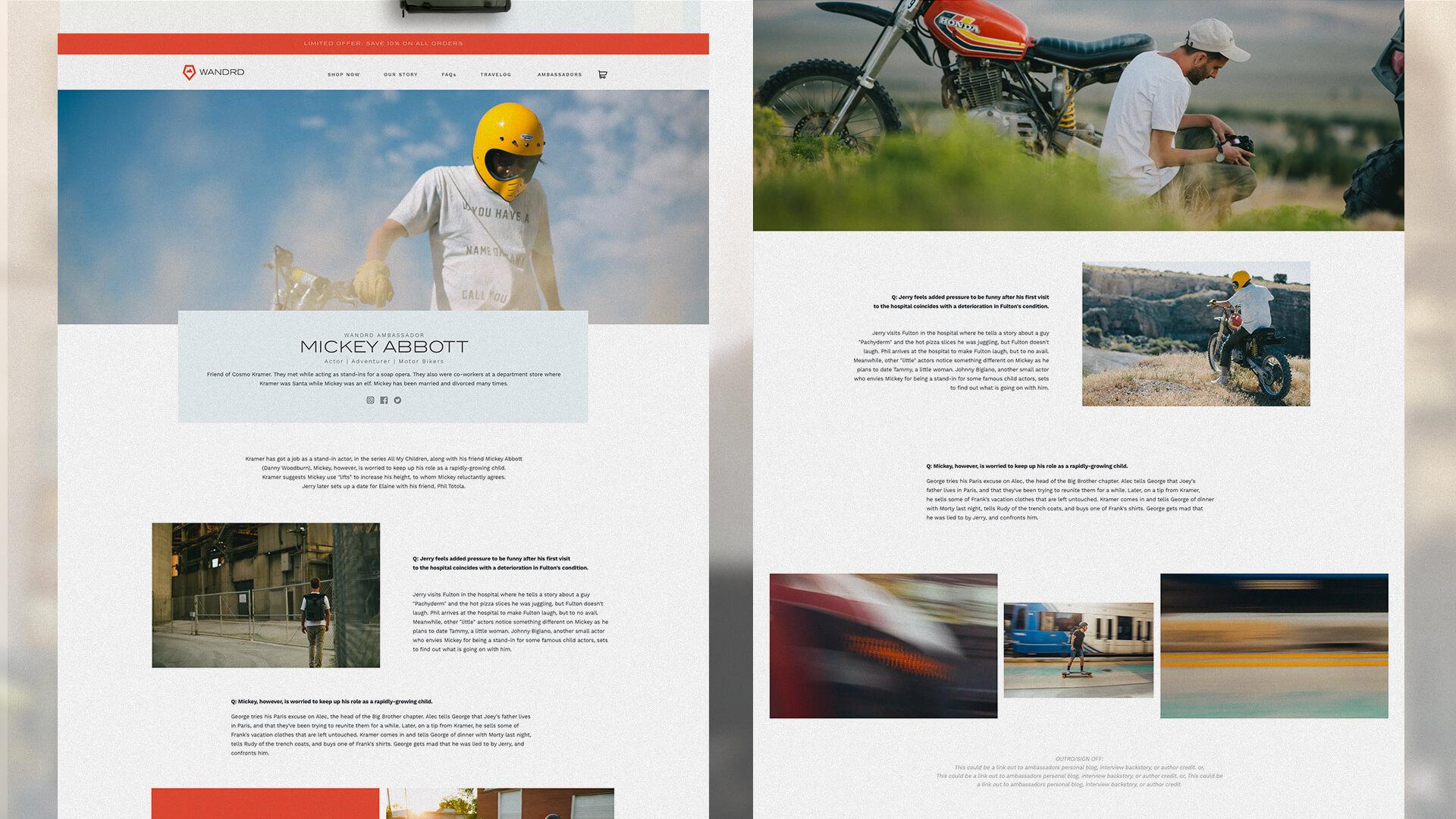 Website design, ambassador profile - Wandrd